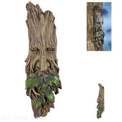 Whimsical Tree Face Sculpture Hanging Garden Wall Outdoor Mystical Novelty Decor