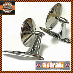 Pair Astrali Classic Car Longbase Door Wing Mirrors Stainless Steel Universal