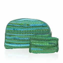 GREEN COSMETIC PERSONAL ZIPPER POUCH SET OF 2 100% POLYESTER TRAVEL BAG