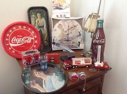Lot Of Coca Cola Antiques I2thermometers, 2 Tonka Toys,p51 Plane And Clock ,tshirt