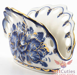 Gzhel Porcelain Napkins Holder Hand-painted In Gold And Blue Made In Russia