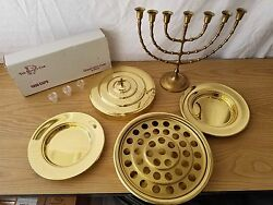 Communion Tray Set With Disposable Serving Cups And Brass Menorah