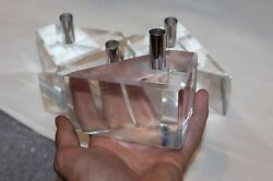 Estate -vintage 70s - Hollywood Regency 4thick Heavy Lucite Candle Holders -mint