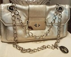 Lanvin silver bag with long chain $315.00