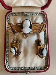 Magnificent 1880 Victorian Antique 14k Cameo Brooch, Earrings With Original Box