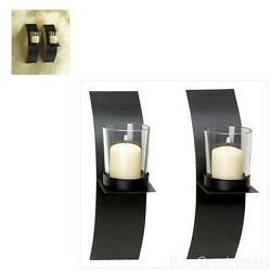 Modern Art Candle Holder Wall Sconce Plaque Set Of 2 Holders Home Interior Decor