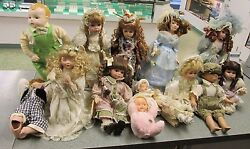Vintage Mixture Of Porcelain Doll Collection See Pictures And Description