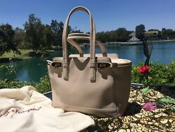 100% AUTH SALVATORE FERRAGAMO CREAM LIGHT UP VERVE BAGTOTEPURSEHANDBAG