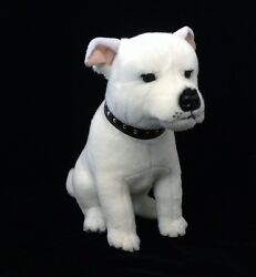 *NEW WHITE SITTING STAFFY STAFFORDSHIRE BULL TERRIER