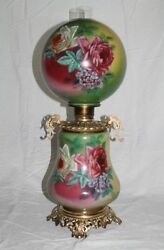 Rare Hand Painted Gone With The Wind Oil Lamp W/ Roses Gwtw Banquet Lamp
