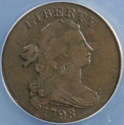 1798 1c 2nd Hair Style Draped Bust Large Cent Anacs Vf 35 Details Scratched