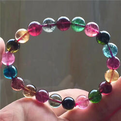 Natural Colorful Tourmaline Crystal Beads Woman Bracelets 9mm Aaaaa