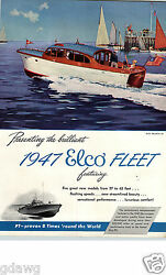 1947 Paper Ad 4 Pg Elco Fleet 27and039 62and039 40and039 35and039 47and039 Motor Boat Motorboat Bayonne