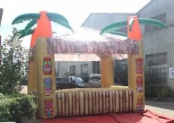 Inflatable Tiki Bar With Four Palms And Blower