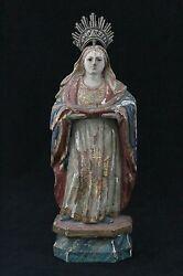 Antique 18th C Carved Wooden Statue Madonna Holy Mary, Glass Eyes And Polychrome