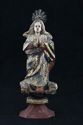 Antique 17th C Carved Wooden Statue Madonna Holy Mary, Glass Eyes And Polychrome