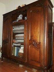 Antique 1900 French Country Carved Book Case
