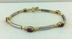 14k Two Tone Gold Ruby and Diamond Bracelet 7