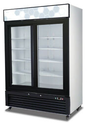 Migali C-49rs-hc 49 Cu.ft Ss Reach In Refrigerator Two Sliding Glass Doors