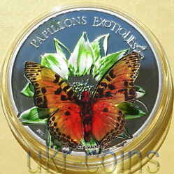 2011 Cameroon Butterfly 3d 1 Oz Silver Proof Coin Wildlife Wwf Fauna Red Book