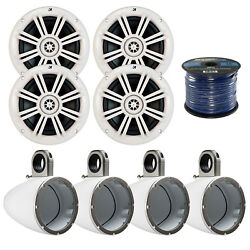 4x Kicker 6.5 Marine White Coaxial Speakers 4x Tower Enclosure50 Ft 16-g Wire