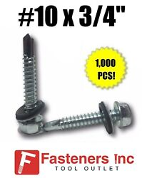 1000 Hex Rubber Washer Head 10 X 3/4 Self-drilling Roofing Siding Screw Zinc