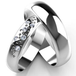 White Gold Diamond Set Band His And Hers Set Of Wedding Rings 4 And 5mm Widths