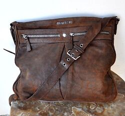 Miu Miu Leather Messenger Cross-Body Shoulder Bag Italy Sold Out Rare Authentic