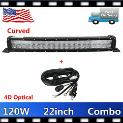 Curved 22'' 120w Led Light Bar 4d Combo Driving Fog Tundra 4x4+wiring Harness