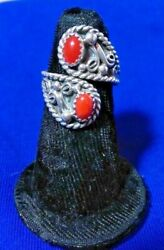 Navajo Size 5.5 Red Mediterranean Coral Silver Collectible Native American Ring