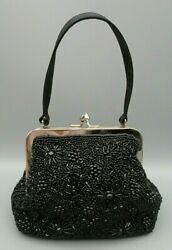 Vintage Small Black Valerie Stevens Beaded Evening Bag Mirror & Shoulder Strap