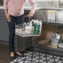 Kitchen Cabinet Under Sink Cleaning Supply Caddy Pullout Drawer Handle Organizer