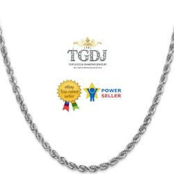 14k Solid White Gold Diamond Cut 4mm Men Women Rope Chain Necklace Size 16-26