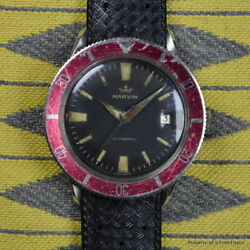 MARVIN 1950s DIVER AUTOMATIC VERY RARE CONVEX RED BEZEL STAINLESS STEEL 39MM