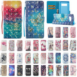 For Samsung Note 9 8 S9 Pattern Shockproof Flip Card Wallet Leather Case Cover $8.99
