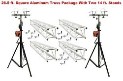 Two 14' Crank Up Stands With Four 6.56' Square Aluminum Truss Segments Package