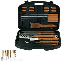 Bbq Grill Tools Set 18pcs Brush Stainless Steel Barbecue Storage Tongs Fork Cook
