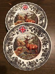 Queenand039s Quintessential Game 4 Salad Dessert Plates Stag / Deer Thanksgiving New