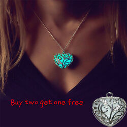 Glow in The Dark Women#x27;s Heart of The Ocean Pendant Necklace Chains Gift Jewelry