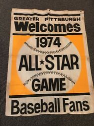 1974 PITTSBURGH PIRATES BASEBALL ALL STAR GAME 34X46 2 SIDED CLOTH BANNER