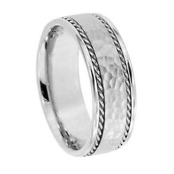Hammered Mans Wedding Band Braided Ropes Mans Ring Comfort Fit 7.5 Mm White Gold