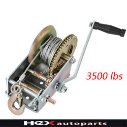 3500lb 33ft Winch Dual Strong Gear Hand Cable Trailer Boat Atv Rv