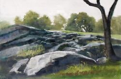 Oil Painting Of Central Park Rocks, Near Conservatory Garden, Signed By Artist