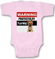 Protected by Yorkie Baby Bodysuit Cute New Gift Choose Size Color $16.00