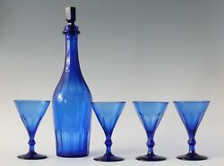 Antique Early 19th C Faceted Crystal Cobalt Blue Wine Sherry Decanter And 4x Glass