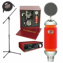 Blue Spark Studio Condenser Microphone with Stand Focusrite 2i2 USB interface