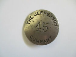 Vintage The Jefferson Company Brass Lamp Glass Shade Employee Id Badge Pin