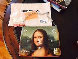 3pc Louis Vuitton Jeff Koons MASTERS Da Vinci  WRISTLET POUCH Pochette Bag Purse