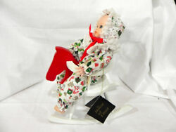 House Of Lloyd Hand Painted Porcelain Doll W/musical Rocking Horse