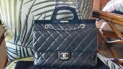 CHANEL DELIVERY FLAP BAG QUILTED BLACK LEATHER CHAIN SILVER TOTE HANDLE JUMBO XL